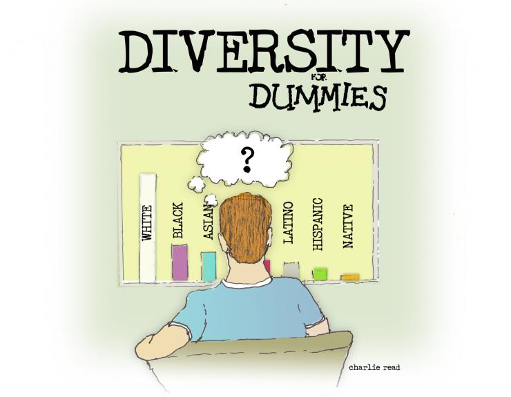 drawing of a man looking at diversity graph