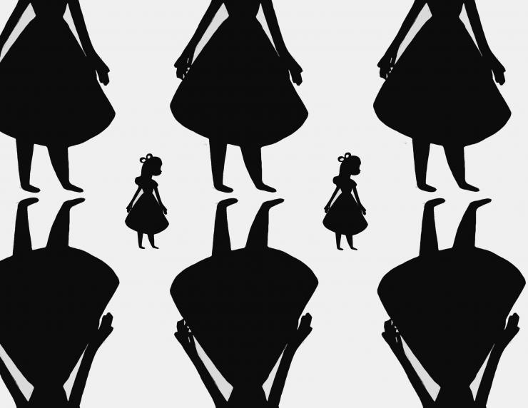Eight doll-like silhouettes