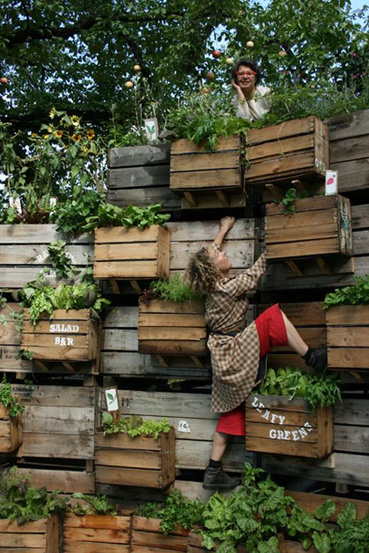 an actress climbing boxes