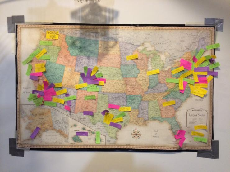 a map with sticky notes