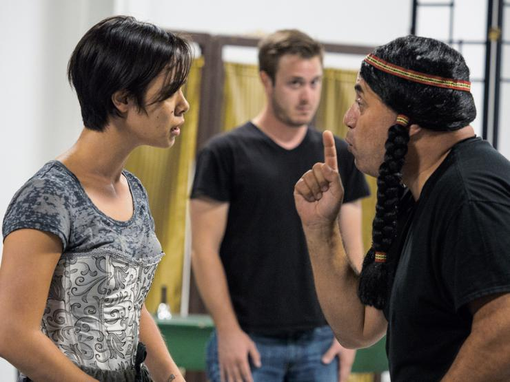 two actors in rehearsal