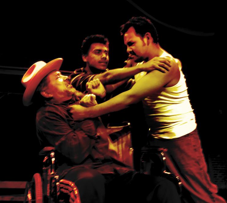 Three actors fighting