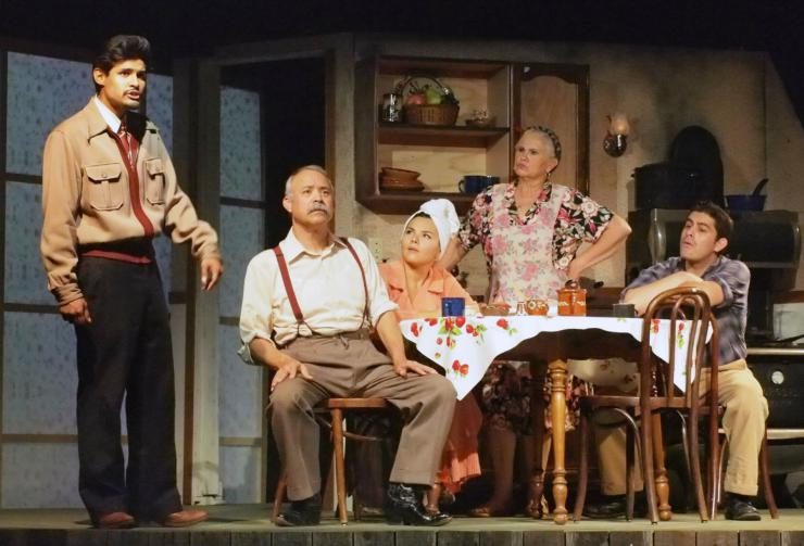 a family scene on stage