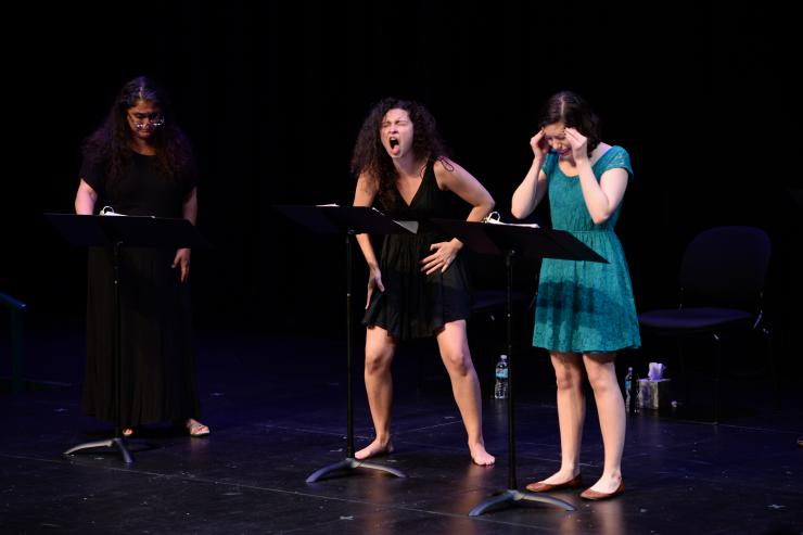three actors in a staged reading