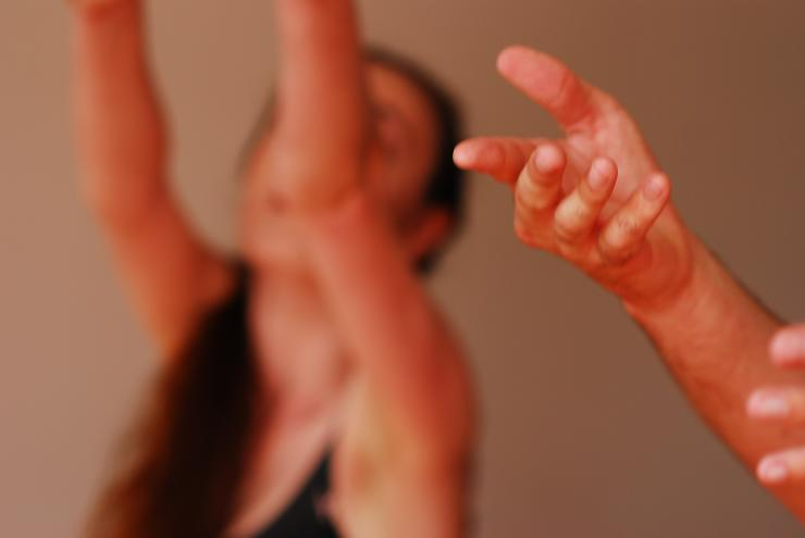 photo of actors' hands during rehearsal