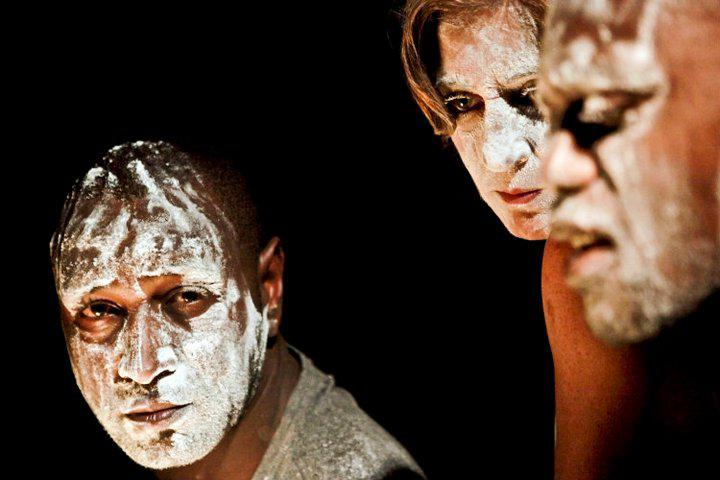 three actors with white paint on their face