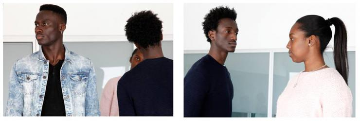 first panel: one performer looks out, another performer's back is turned. second panel: two performers look at each other