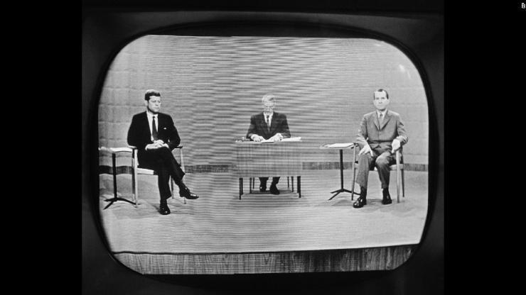 Presidents John F. Kennedy and Richard Nixon in TV debate