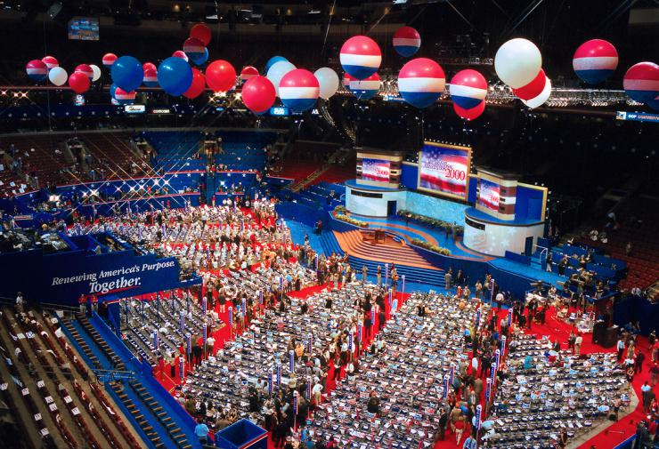 a decorated convention room