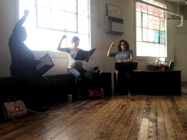 three actresses in a staged reading