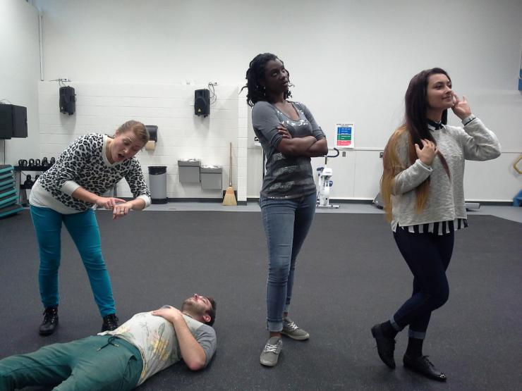 Four actors in a rehersal room
