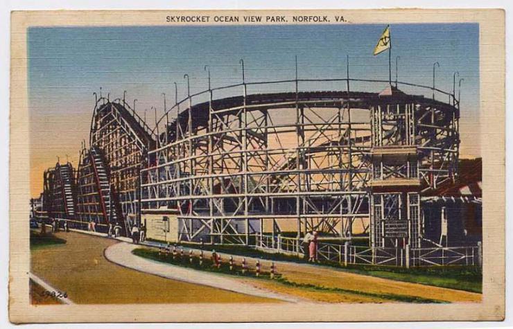 a postcard of Skyrocket Ocean View Park in Norfolk, Virginia
