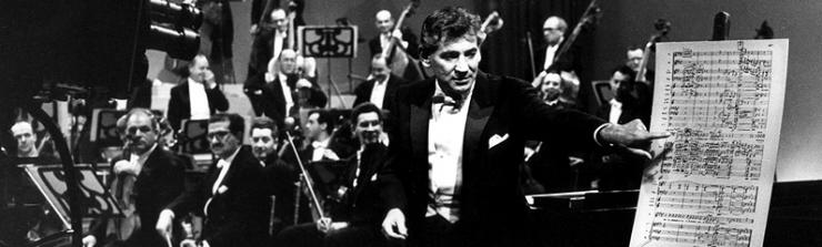 Leonard Bernstein lecturing about music on Omnibus. Photo by CBS Photo © Warnecke.