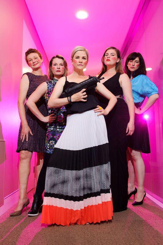Six women on stage