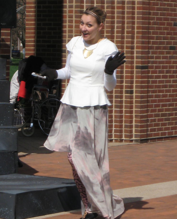 A woman performing