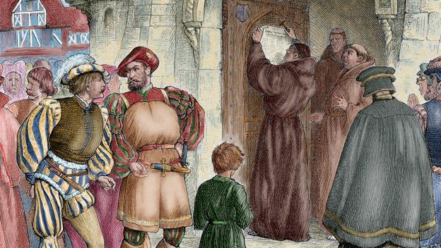 Luther nailing the 95 theses