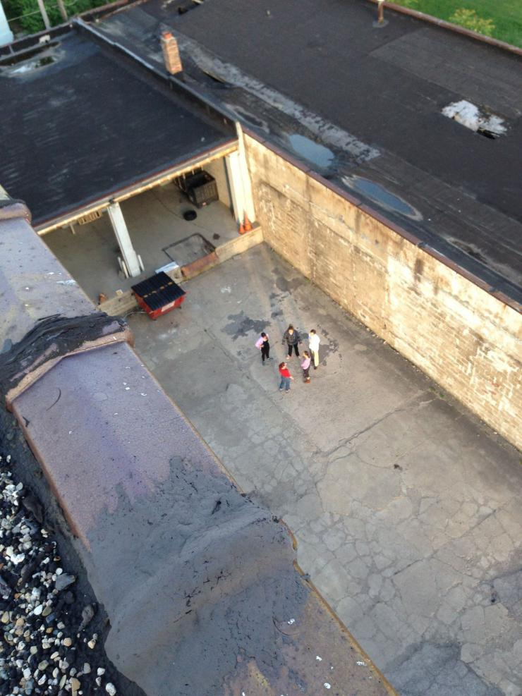 an overhead view of some people