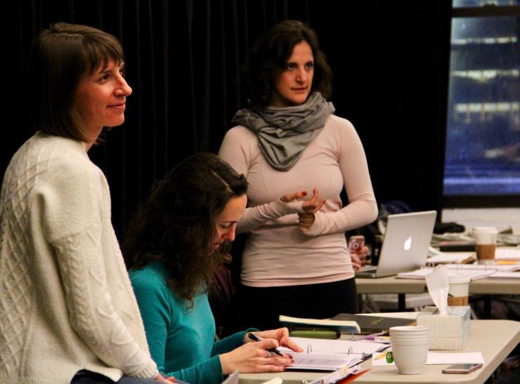 three women in a rehearsal room