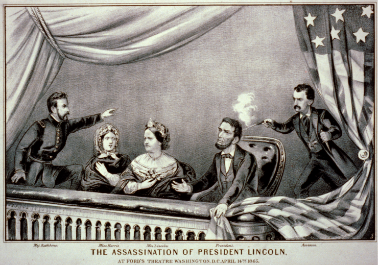 a lithograph of President Lincolns assassination