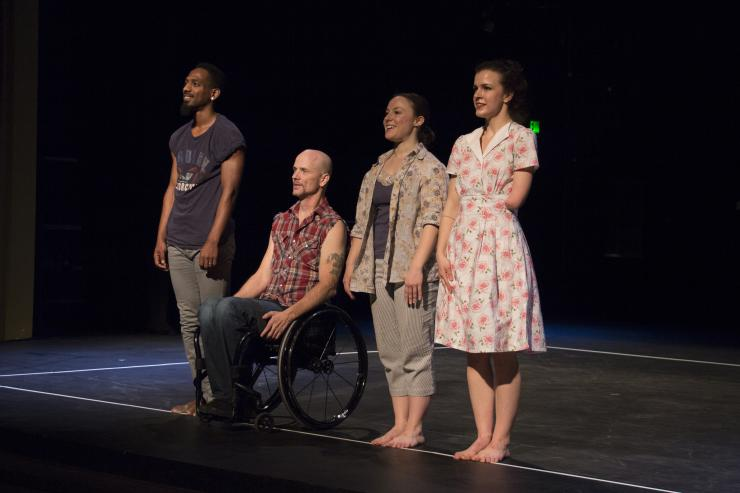 four actors with different physical disabilities onstage