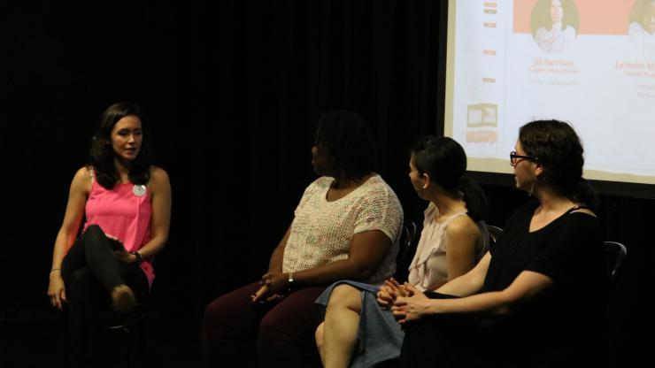 Rachel moderating a panel