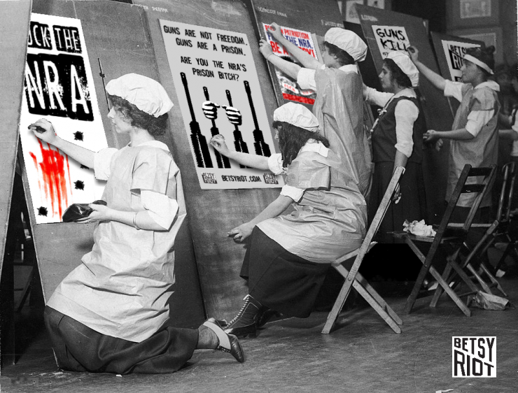 image of women painting protest signs