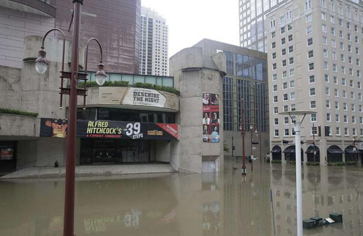 The Alley Theatre under water