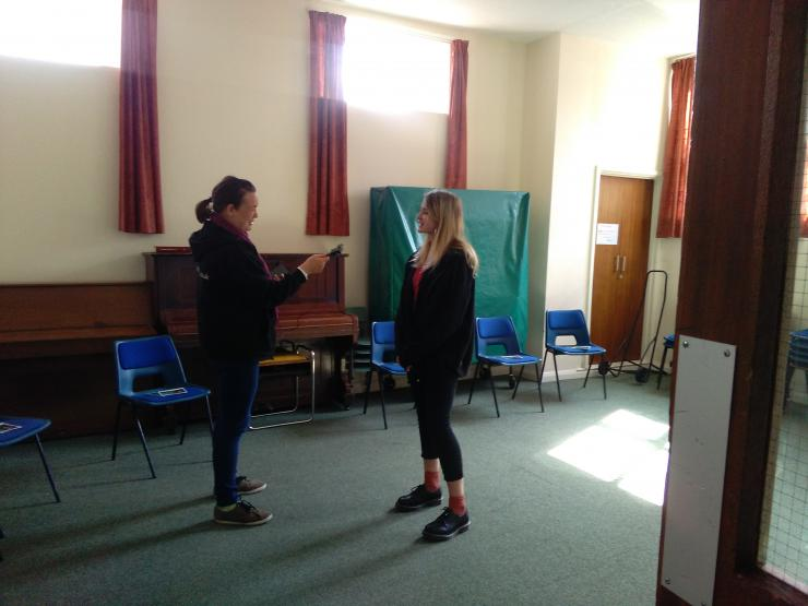 two actors rehearsing
