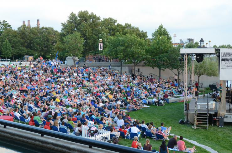 Crowd in an outdoor theatre