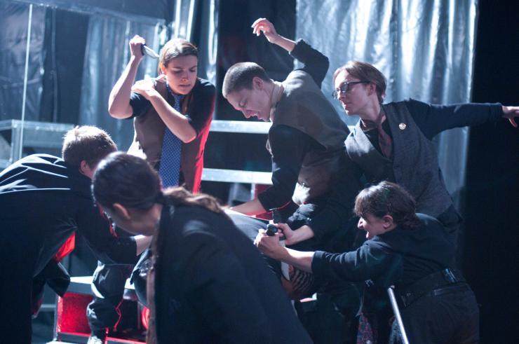 many actors stabbing Ceaser in Julius Ceaser