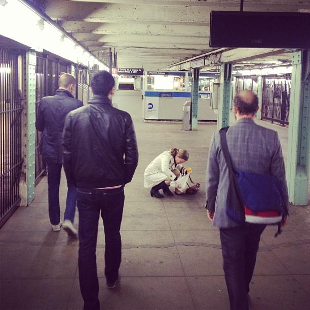 People walking in the subway
