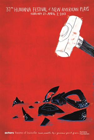 37th Humana Festival Poster Depicting A White Hammer Smashing Black Mask