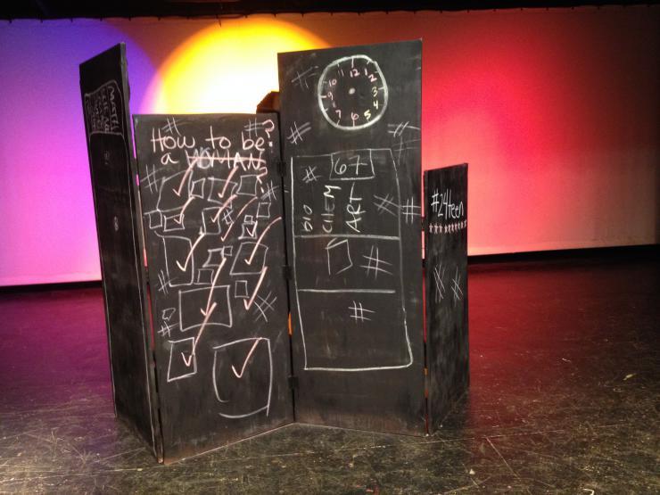 Blackboards on stage