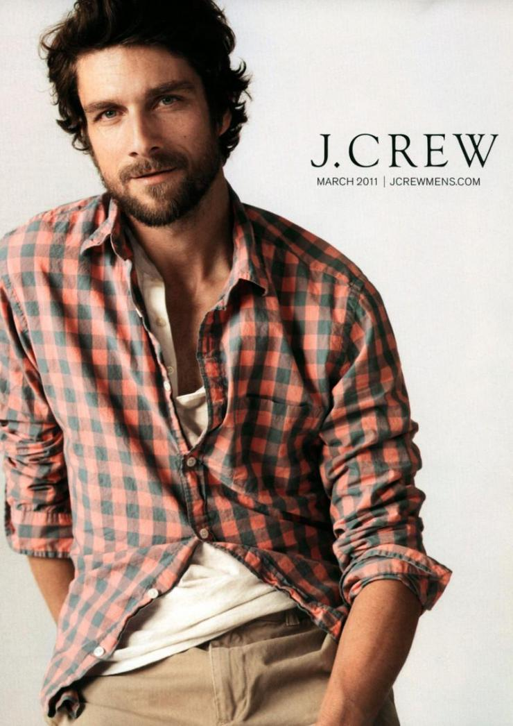 A J. Crew model looking at the camera