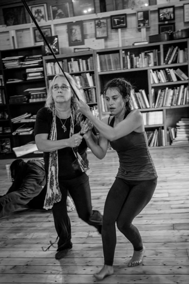 Two actors training