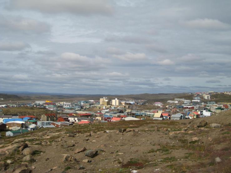 the skyline of the town