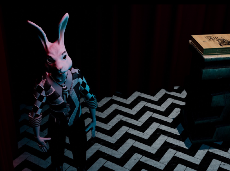 white rabbit from Alice, The Virtual Reality Play
