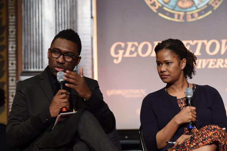 two panelists speaking