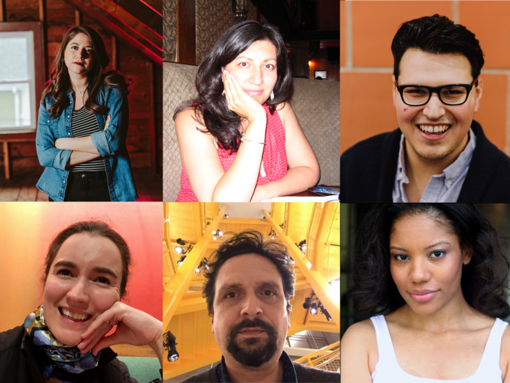 six headshots of playwrights