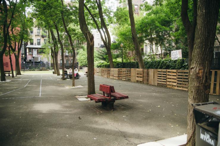 an empty Meltzer Towers garden