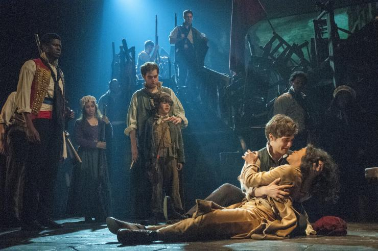 The cast of Les Mis on stage