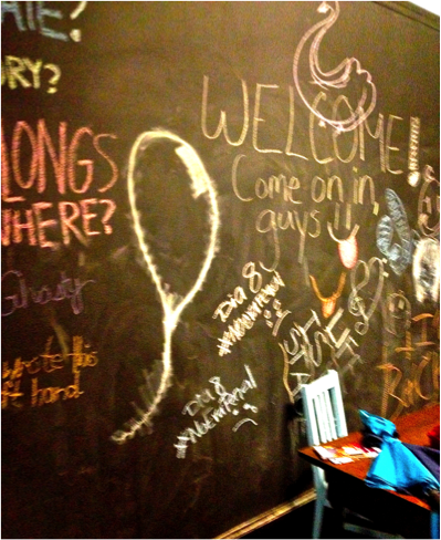 Wall with chalk drawings and writings on it