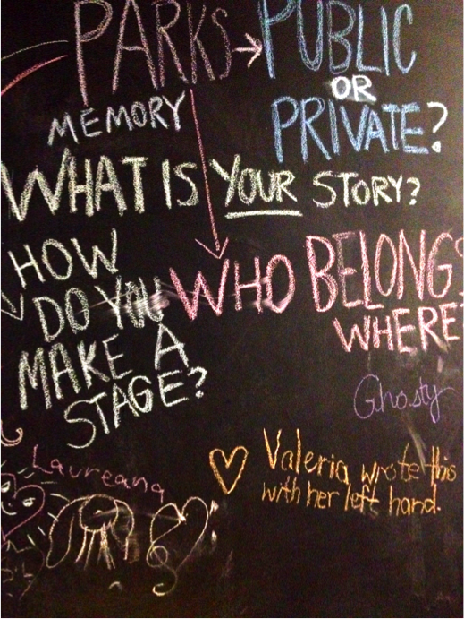 Wall with chalk writings on it