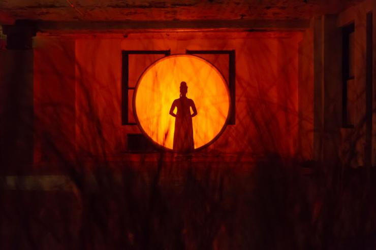 silhouette of performer