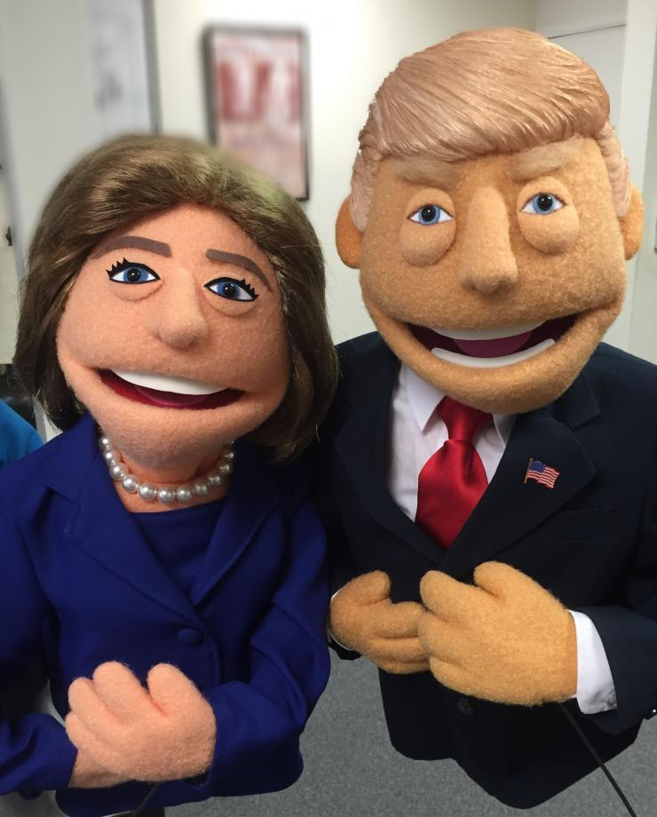 Hillary Clinton and Donald Trump puppets