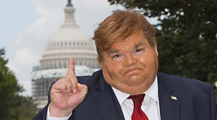 a man imitates Donald Trump