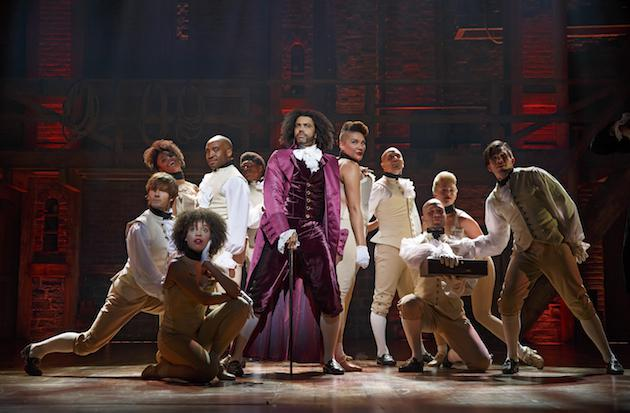 Hamilton actors on stage