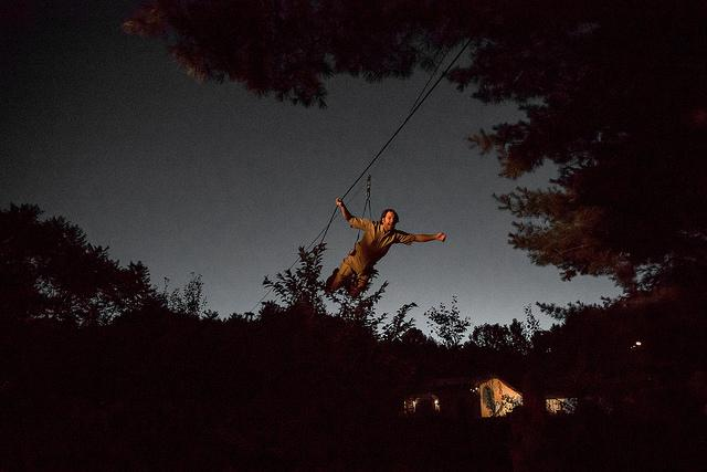 a man in the air