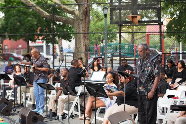 A chorus performing in Ferguson