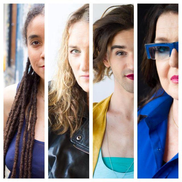 collage of four women playwrights